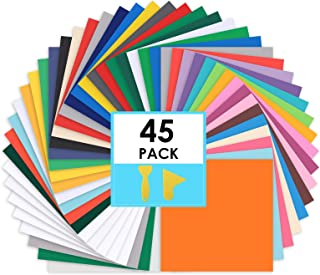 """CONERX Permanent Adhesive Vinyl Sheets - 12""""x 12"""" - 45 Sheets Assorted Colors (Matte and Glossy) Includes Squeegee Works w..."""