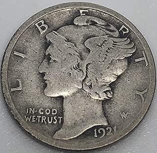 1921 P Silver Mercury Dime (Semi Key Date) Dime Choice Fine