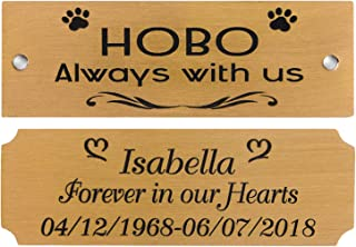 "3"" W x 1"" H, Personalized Custom Engraved Brushed Gold Solid Brass Plate Picture Frame Name Label Art Tag for Frames, with Adhesive Backing or Screws (Notched)"