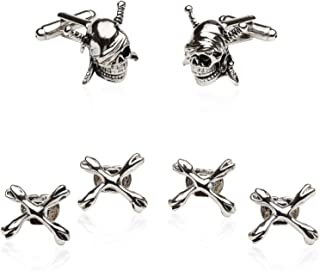 Pirate Skull & Swords Cufflinks Studs Tuxedo Formal Set with Presentation Box