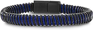 Steve Madden Black IP Plated Stainless Steel Blue Cord Black Leather Bracelet for Men