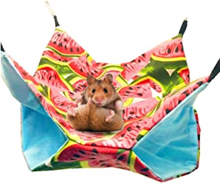 Bed Nest Hamsters Chinchillas Ferrets Hammock Double Layer Canvas Hammock Small Fluffy Lined Hammock With Pouch, Damask -3...
