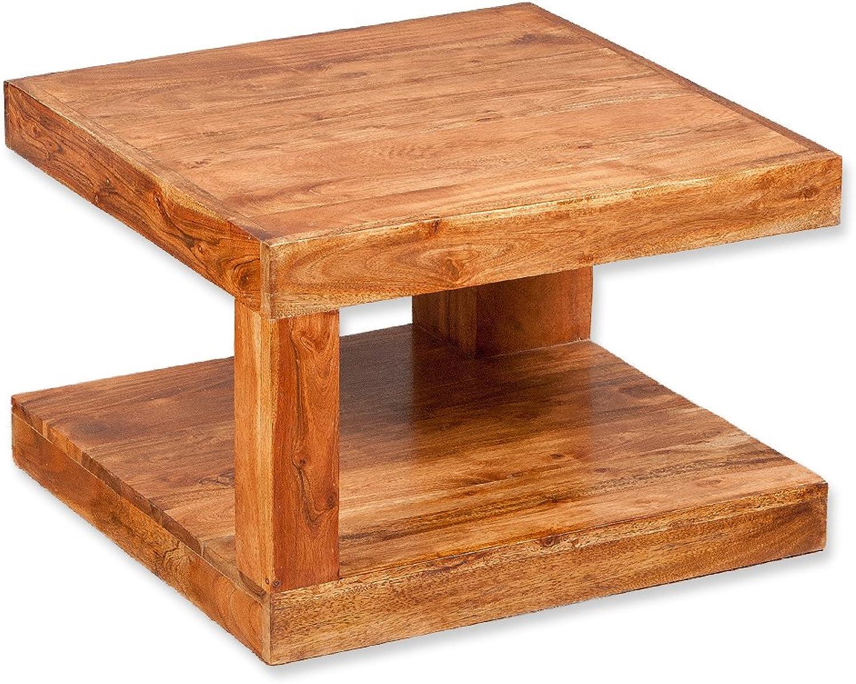 LEBENSwohnART Couchtisch SHIVA Natural-A 60x60 Akazie Massivholz Wohnzimmertisch Beistelltisch