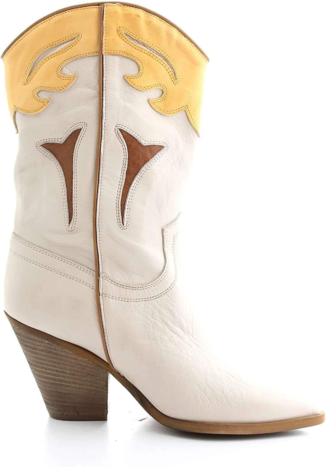 LEQARANT Women's 9033BEIGE Beige Leather Ankle Boots