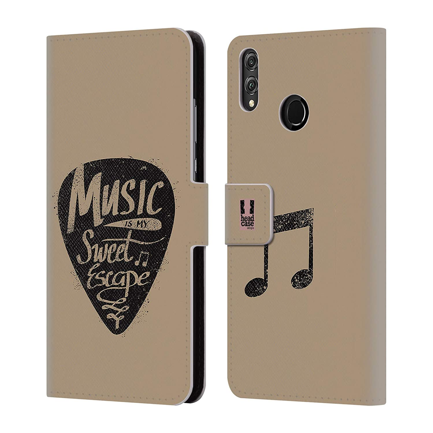 Head Case Designs Guitar Pick All About Music Leather Book Wallet Case Cover Compatible for Huawei Honor 8X / View 10 Lite