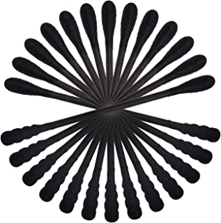 Mini Skater 100 Pcs Black Cotton Swabs with Cardboard Handles 3 Inch Buds Spiral Double Head Multipurpose Natural Short Applicators for Makeup Removal Small Parts Gun Cleaning Ear (Black)