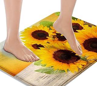 Britimes Bath Mats for Bathroom, Bathroom Mats Rugs No Silp, Yellow Sunflower Washable Cover Floor Rug Carpets Floor Mat B...