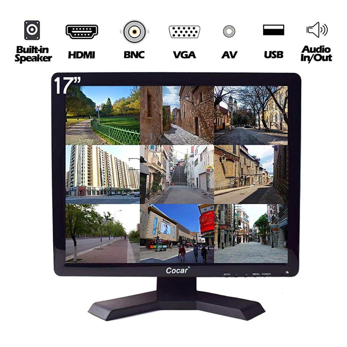 17 inch CCTV Monitor with VGA HDMI AV BNC Audio In/Out Ports, Built-in Speaker 4:3 HD Display (LED Backlight) LCD Security Screen with USB Drive Player for Surveillance Camera STB 1280x1024 Resolution