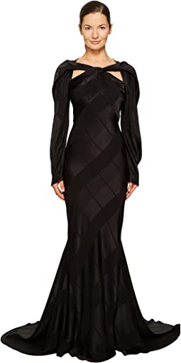 Satin Crepe Jacquard Long Sleeve Cut Out Gown