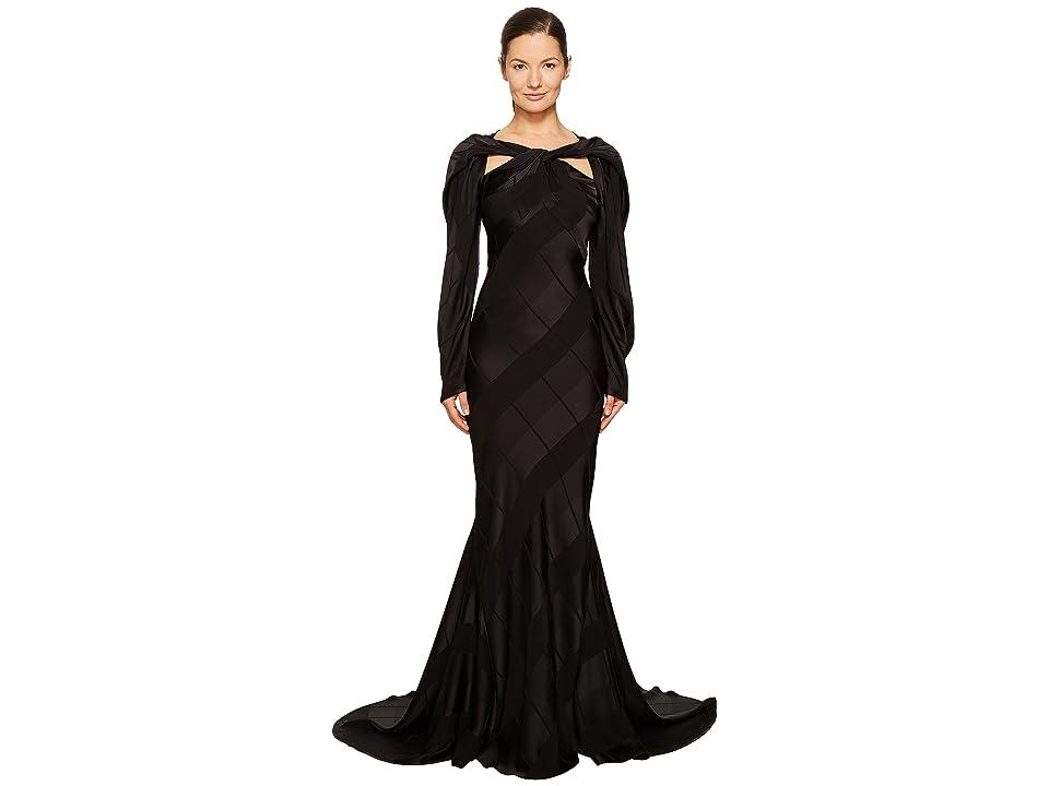 c774ac63ca1 Zac Posen Satin Crepe Jacquard Long Sleeve Cut Out Gown (Black) Women