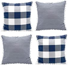Hoplee Farmhouse Pillow Covers 18x18 Navy Blue Pillows with Cute Pom Buffalo Checker & Stripe Design Set of 4
