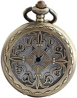 VIGOROSO Celtic Men Lady Pocket Watch Gift Vintage Retro Bronze Steampunk Necklace Pandant in Box