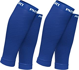 Physix Gear Sport Compression Calf Sleeves for Men & Women (20-30mmhg) - Best Footless Compression Socks for Shin Splints,...