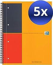 Oxford 001 International Classic N001202 - Cuaderno de espiral doble (5 unidades, con rayas, 160 páginas, 230 x 297 mm, perforado), color gris y naranja