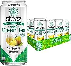 Steaz Organic Lightly Sweetened Iced Green Tea, 16 OZ (Pack of 12) (Half and Half)