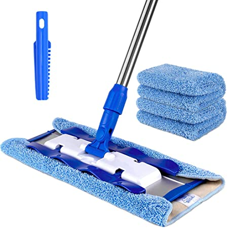 MR.SIGA Professional Microfiber Mop (Included 3 Microfiber Cloth Refills and 1 Dirt Removal Scrubber), Pad Size: 42cm x23cm