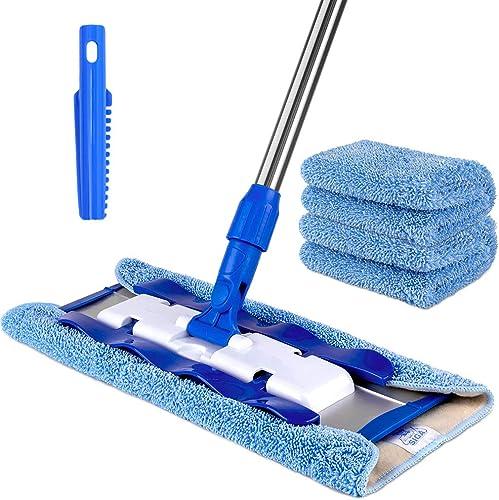 MR.SIGA Professional Microfiber Mop for Hardwood, Laminate, Tile Floor Cleaning, Stainless Steel Telescopic Handle - ...