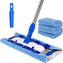 MR.SIGA Professional Microfiber Mop for Hardwood, Laminate, Tile Floor Cleaning, Stainless Steel Telescopic Handle - 3 Reu...