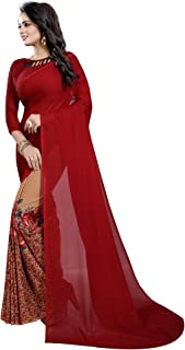ETHNICMODE India Women's Georgette Saree with Blouse Piece (Multi-Color_Free_Size) Half Maroon