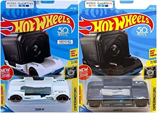 Hot Wheels Experimotors Zoom in White 341/365 and Black 242/365 2 Car Bundle Works with GoPro