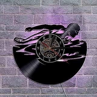 ビニールレコード壁掛け時計 常夜灯 男性の寝室のファッション装飾品のためのユニークなホームアートの装飾