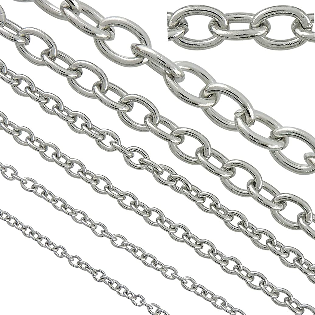 33ft 4mm Width Stainless Steel Rolo Cable Chains Findings Fit for Jewelry Making &DIY (SC-1027-D)