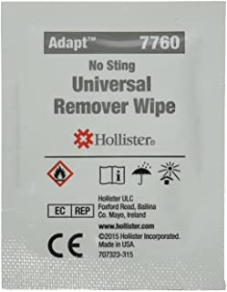 Hollister 7760 Adhesive and Barrier Remover Wipes, Category: Ostomy Supplies (Pack of 50)