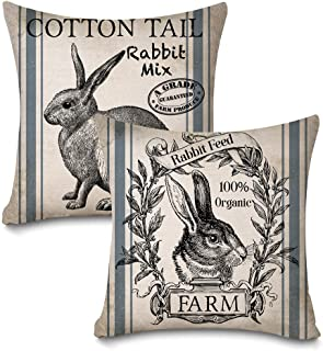 Faromily Vintage Farmhouse Bunny Throw Pillow Covers Retro Farm Rabbit Feed Home Décor Cotton Linen Throw Pillow Case Cushion Cover 18