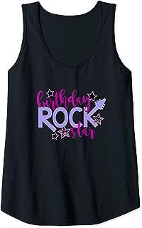 Womens BIRTHDAY ROCK STAR Teen Tween Girls Toddler Kids Funny Gift Tank Top