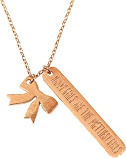 Emmas Jewelry Co. Dainty Happy Girls are The Prettiest Girls Necklace for Women Bow Charm Plain Bar Pendant 17in Chain- Mu...