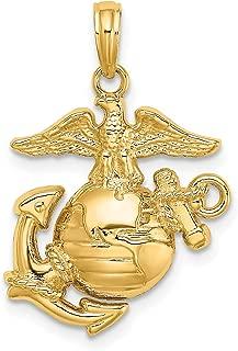 14k Yellow Gold United States Marine Corps Insignia Pendant 19x17mm