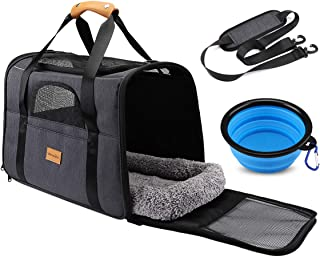 Pet Travel Carrier Bag, Morpilot Portable Pet Bag - Folding Fabric Pet Carrier, Travel Carrier Bag for Dogs or Cats, Pet Cage with Locking Safety Zippers, Foldable Bowl, Airline Approved