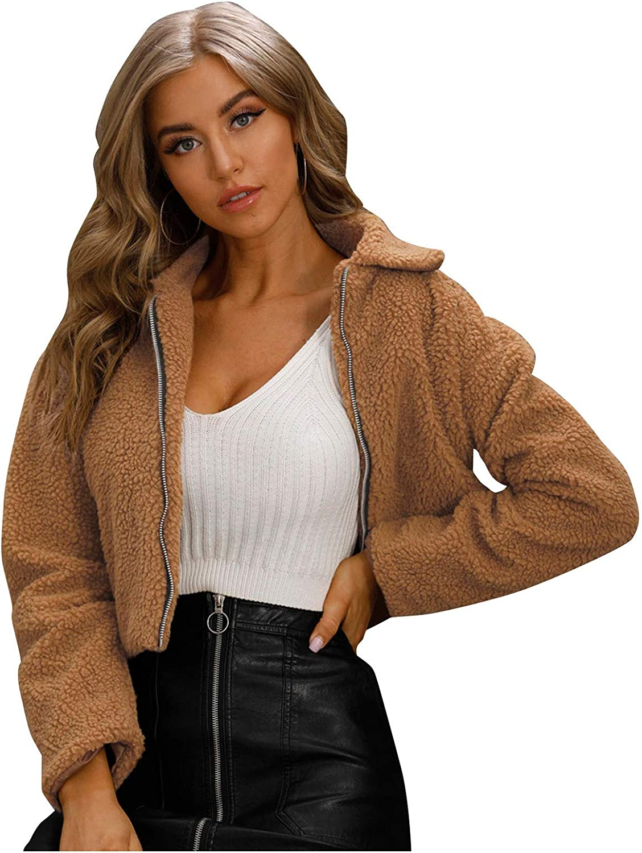 Forwelly Winter Cropped Jacket for Womens Fluffy Plush Warm Short Coat Zipper Jacket Parkas Outwear