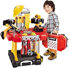 Toy Tool, 100 Pieces Kids Construction Toy Workbench for Toddlers Kids Power Workbench Construction Tool Bench Set, Boys Toy Work Shop Tools Workbench for Toddlers