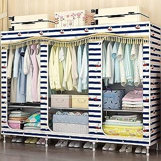HWG Armoire Tissu Portable Armoire Penderie Armoires en Toile, avec Tringles Et étagères à Vêtements, Facile à Assembler p...