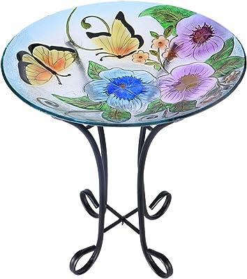 VCUTEKA Outdoor Glass Birdbath with Metal Stand for Lawn Yard Garden Decoration