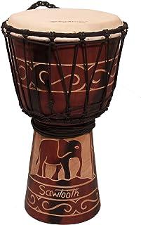 "Sawtooth Harmony Series 8"" Hand Carved Elephant Design Rope Djembe"