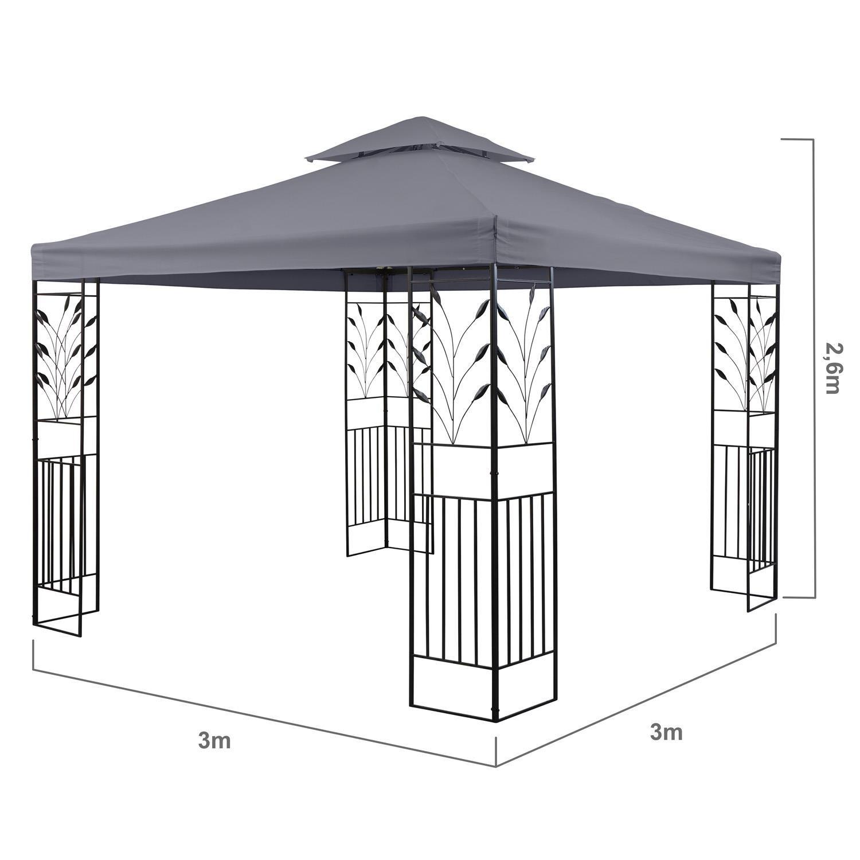 blumfeldt Odeon Grey Pavillon Carpa para Fiestas y jardín (3x3m, dieseño Decorativo, película Protectora, Resistente a Intemperie) - Gris Oscuro: Amazon.es: Jardín