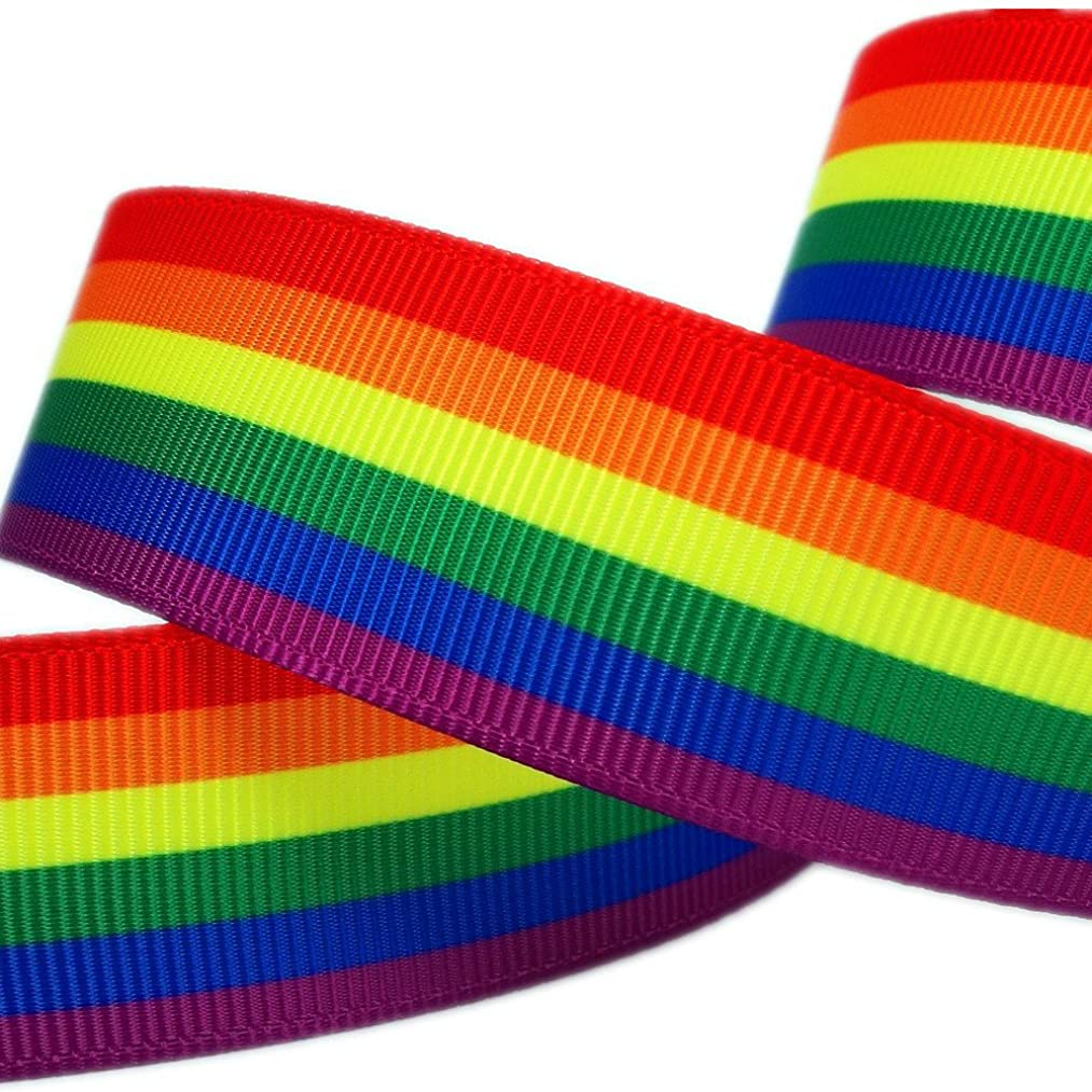Single Face Rainbow Stripes Printed 1 Inch White Grosgrain Ribbon 25 Yards