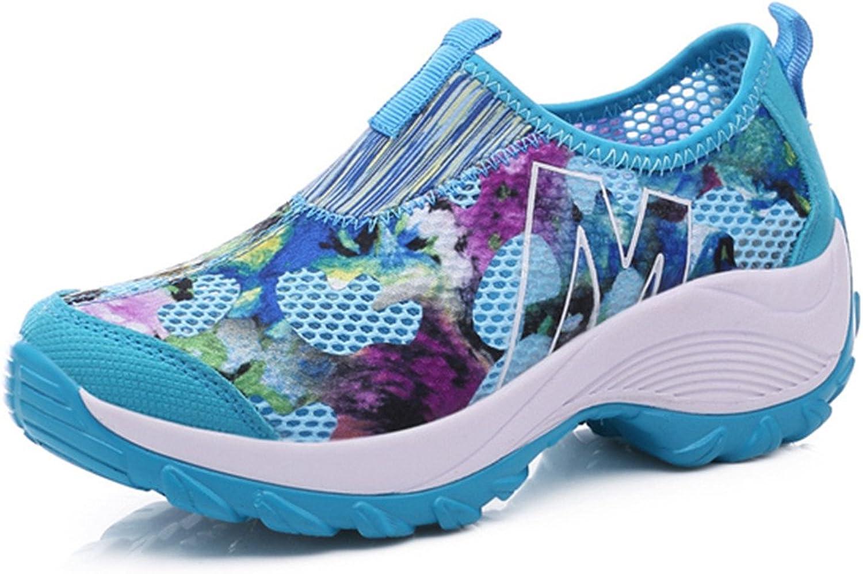 Gracosy Mesh Breathable shoes,Slip-On Sneaker Pool Beach Flower Platform Rocker Sole Casual Walking shoes