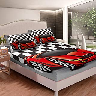 LCGGDB Cars Fitted Sheet Twin Size,3D Style Car Kids Traffic Transport Technology Prototype Vehicle Stain Resistant Deep Pocket Bed Sheet,Dried Rose Charcoal Grey White