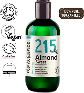 Naissance Organic Sweet Almond Oil 8.5 fl oz/250ml – Pure & Natural, UK Certified Organic, Cold Pressed, Vegan, Hexane Free & No GMO. Ideal for Massage, Skincare & Haircare