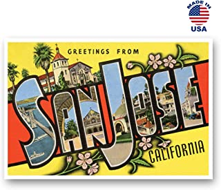 GREETINGS FROM SAN JOSE, CA vintage reprint postcard set of 20 identical postcards. Large Letter San Jose, California city name post card pack (ca. 1930's-1940's). Made in USA.