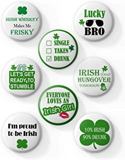AVOIN 8 Count Large St Patricks Day Irish Pins, Funny Decorative Buttons Badges with Irish Sayings Shamrock for Your Party Parade or Celebration, Lucky Charm Great for Hats and Shirts, 2.25