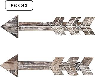 Arrow Decor, Set of 2 Arrows, Rustic Wood Arrow Sign Wall Decor Decorative Farmhouse Home Wall Hanging Decor (Brown Set of 2)