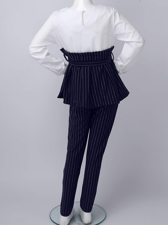 Pantaloni a Righe Autunno Invernale Suits 2 Pezzi Abiti Set Freebily Completi Coordinati Bambina Cotone T-Shirt Camicia Camicetta Girocollo Maglietta a Maniche Lunghe