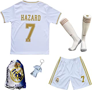2019/2020 Real Madrid Hazard #7 Home White Soccer Kids Jersey & Short & Sock & Soccer Bag Youth Sizes