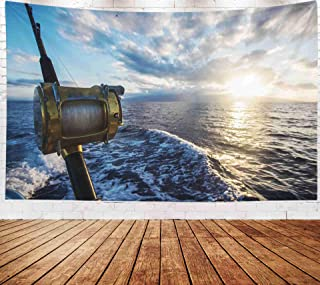 Fullentiart Wall Tapestry, Map Large Tapestry Wall Hanging 80X60Inch Deep Sea Fishing Reel Boat During Sunrise Decoration Room Holiday Décor Tapestries,Orange Ivory
