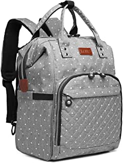 KONO Diaper Bag Backpack Multi-Function Waterproof Maternity Nappy Bags for Travel with Baby (6705D2 Gray)