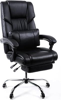 Songmics OBG71BUK Büro-Drehstuhl mit Fußstütze, höhenverstellbar, Schwarz